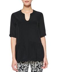 Short sleeve silk peplum blouse black medium 87494
