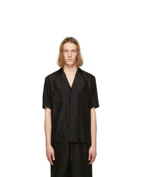 Saint Laurent Black Silk Voile Striated Short Sleeve Shirt