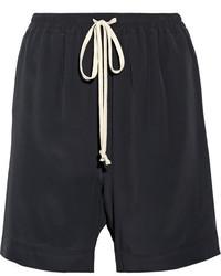 Rick Owens Crepe De Chine Shorts Black
