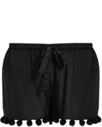 Figue Maja Pompom Embellished Silk Shorts