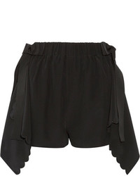 Fendi Scalloped Draped Silk Crepe De Chine Shorts Black