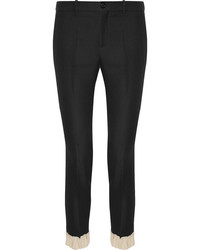 Ruffle trimmed silk and wool blend skinny pants black medium 3731786