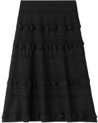 Salvatore Ferragamo Ruffled Wool Silk Skirt