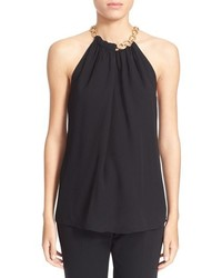 Diane von Furstenberg Aubrey 2 Chain Collar Sleeveless Silk Top