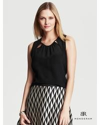 Banana Republic Br Monogram Silk Cutout Top