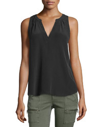 Joie Fifi Sleeveless Silk Top Caviar