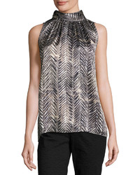 Lafayette 148 New York Sanura High Neck Sleeveless Silk Top Black Multi
