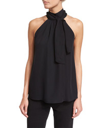 Haute Hippie Sleeveless Silk Tie Front Top Black