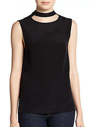 Tibi Easy Silk Cutout Top