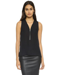 The Kooples Zip Neckline Silk Top