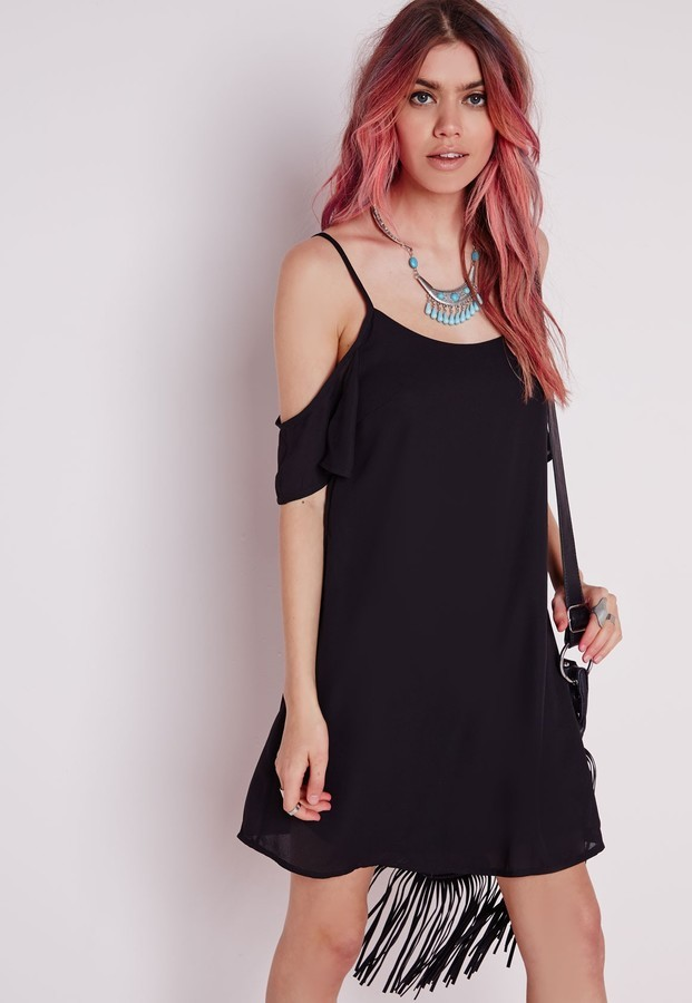 a68ba28a2a Missguided Crepe Cold Shoulder Strappy Swing Dress Black, $50 ...