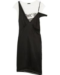 R 13 R13 Layered Silk Satin And Cotton Blend Jersey Dress Black