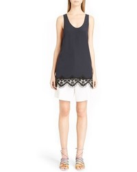 Chloe fringed floral lace trim silk tank medium 434270