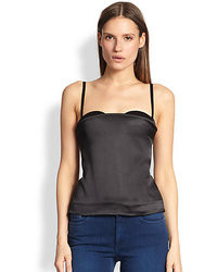 Acne Studios Roxi Silk Satin Paneled Stretch Cotton Bustier Top