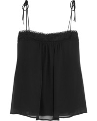 See by Chloe See By Chlo Guipure Lace Trimmed Silk Chiffon Camisole Black