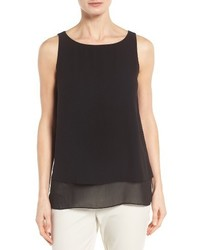 Eileen Fisher Tiered Silk Georgette Tank