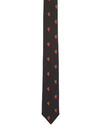 Paul Smith Black Strawberry Skull Tie