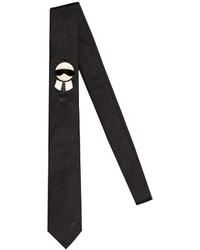 Fendi 6cm Karl Patch Silk Satin Tie