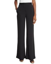 Diane von Furstenberg Katara Wide Leg Stretch Silk Pants Black
