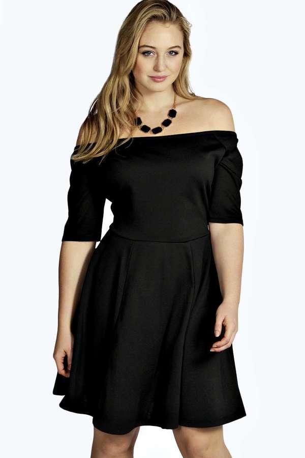 5df04fe2d9d ... Boohoo Plus Sophie Bardot Skater Dress ...