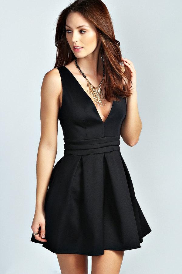 6341451246e ... Boohoo Sara Plunge Neck Skater Dress ...
