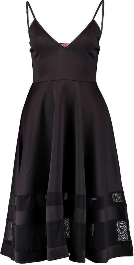 698dc41a553f6 Boohoo Celina Strappy Double Mesh Midi Skater Dress, $35 | BooHoo |  Lookastic.com