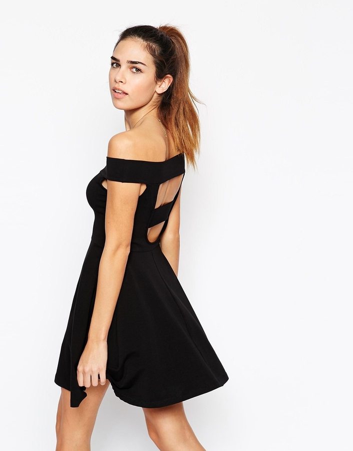 4d40792bf619 ... Asos Collection Bardot Mini Skater Dress ...