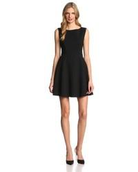 Women S Black Skater Dress Black Suede Flat Sandals