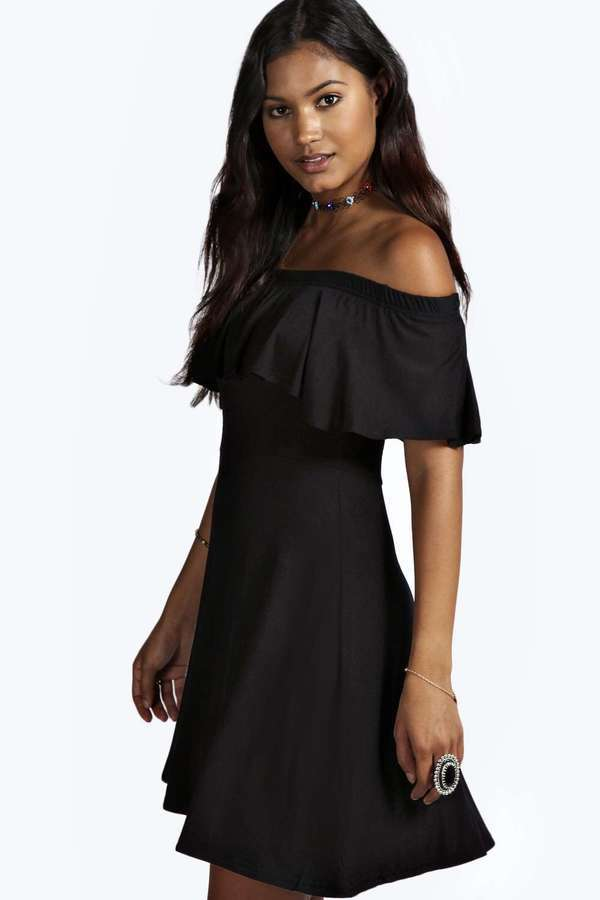 dd4a3f8769 ... Black Skater Dresses Boohoo Freya Frill Off Shoulder Skater Dress ...
