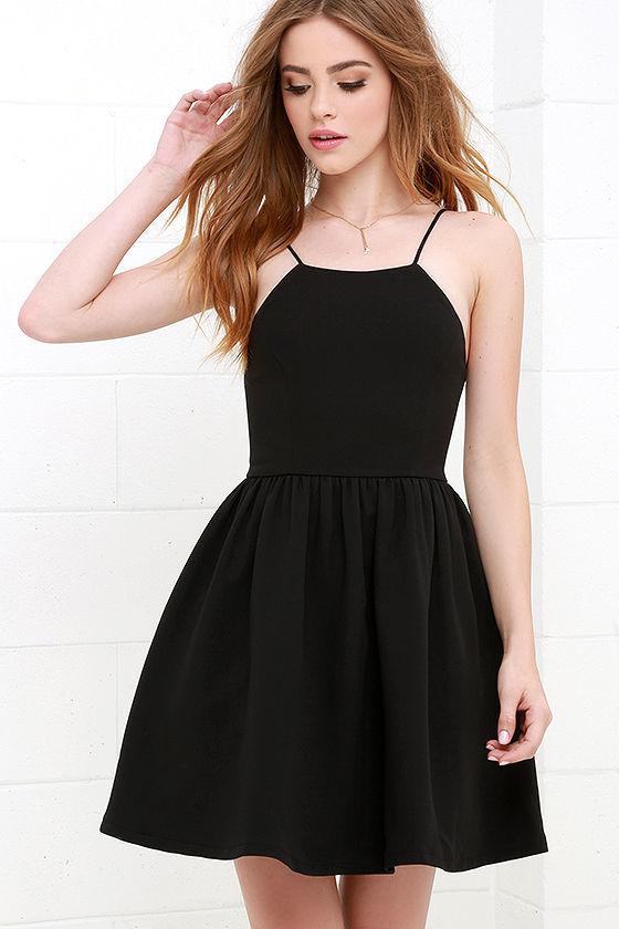 9ca966025572 ... Black Skater Dresses LuLu s Chic Freely Ivory Backless Skater Dress ...