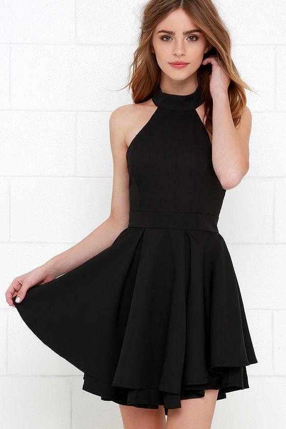 4bafca84a60d ... LuLu s Dress Rehearsal Black Skater Dress ...