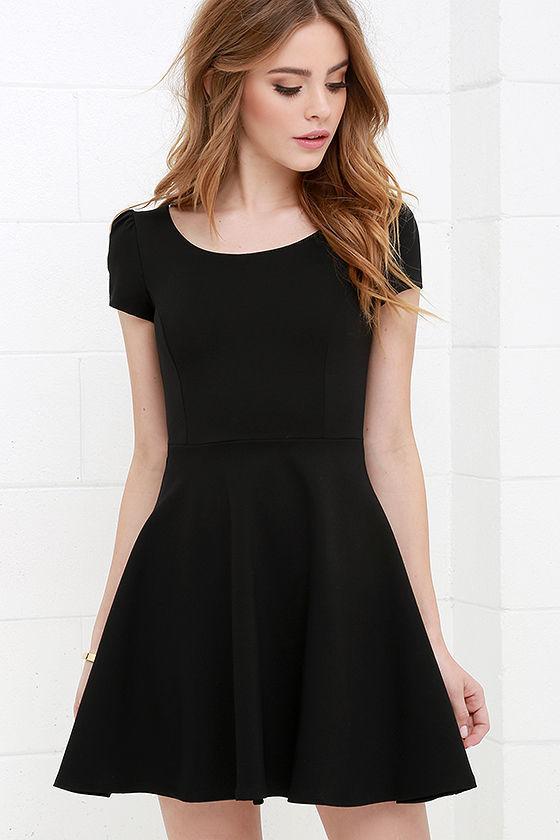 428dba6fe2e1 ... LuLu s Winning Look Black Skater Dress ...