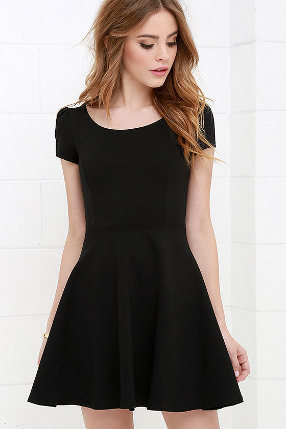 96234382ac96 ... LuLu s Winning Look Black Skater Dress ...