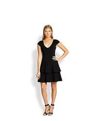 Milly Tiered Fit Flare Dress Black