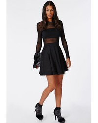 8b12a2900f96 ... Missguided Mesh Insert Long Sleeve Skater Dress Black