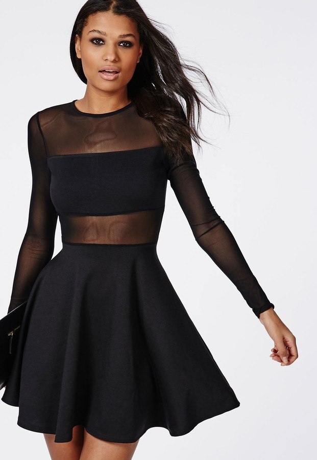 aa74a2ab5d08 ... Missguided Mesh Insert Long Sleeve Skater Dress Black ...