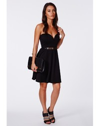 49aefea33c ... Missguided Scuba Plunge Skater Dress Black