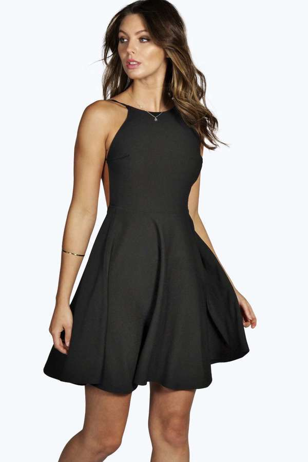 Boohoo Nancy Crepe Strappy Backless Skater Dress Where To Buy