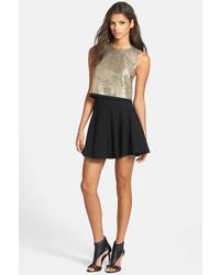 Astr Ponte Knit Pleated Skater Skirt