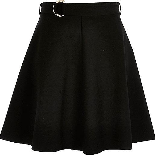 River Island Black Jersey Belted Skater Skirt