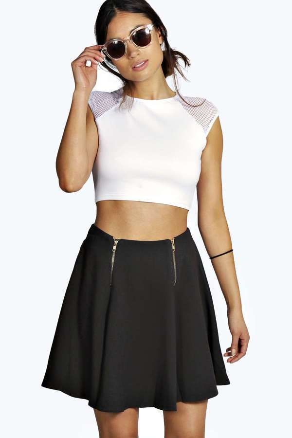 e6af75c80c ... Black Skater Skirts Boohoo Marlie Woven Zip Front Skater Mini Skirt ...