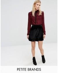 Boohoo Petite Velvet Skater Skirt