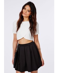 Missguided Cornelia Scuba Pleated Skater Skirt Black