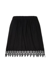 New Look Black Crochet Trim Skater Skirt
