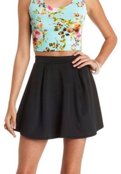 High Waisted Pleated Skater Skirt - Dress Ala