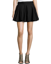 Torn By Ronny Kobo Pleated Stretch Knit A Line Skirt Black