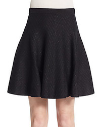 Saks Fifth Avenue BLACK Metallic Chevron Striped Skater Skirt