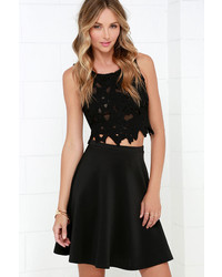 Swing Into High Gear Black Skater Skirt
