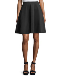 Neiman Marcus Zip Back Flared Midi Skirt Black