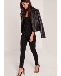 Missguided Black High Waisted Lace Up Skinny Jeans